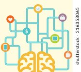brain connected with icons... | Shutterstock .eps vector #216353065