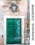 old wooden door on the front of ...