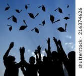 graduating students throwing... | Shutterstock . vector #216374626