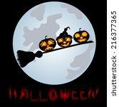 pumpkins on a sweeper  a...   Shutterstock .eps vector #216377365