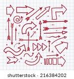 set of red doodle sketch arrows.... | Shutterstock .eps vector #216384202