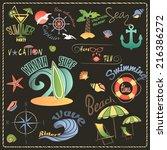 summer sea retro vacation... | Shutterstock .eps vector #216386272