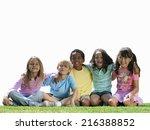 group of children sitting on... | Shutterstock . vector #216388852