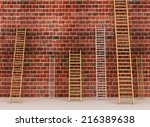 Ladders Against Old Brick Wall. ...