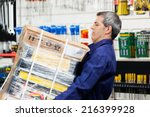 side view of mature worker... | Shutterstock . vector #216399928