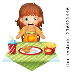 illustration of a hungry little ... | Shutterstock . vector #216425446
