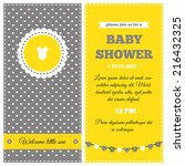 baby shower invitation. yellow  ... | Shutterstock .eps vector #216432325