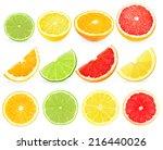 Slices Citrus On White...