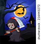 grim reaper and bat with a full ... | Shutterstock . vector #216443272