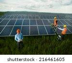 top view of three men wearing... | Shutterstock . vector #216461605