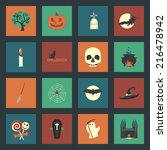 halloween flat icons set  | Shutterstock . vector #216478942