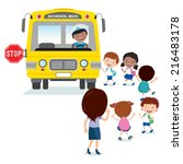 school kids boarding the bus.... | Shutterstock .eps vector #216483178