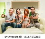 friends sitting at home on sofa ... | Shutterstock . vector #216486388