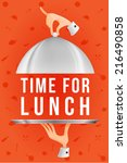 time for lunch in cartoon style. | Shutterstock .eps vector #216490858