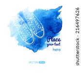 vector sneakers on blue... | Shutterstock .eps vector #216497626