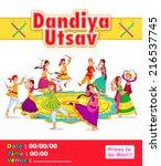 couple performing dandiya and...   Shutterstock .eps vector #216537745