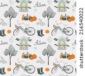 seamless pattern with autumn... | Shutterstock .eps vector #216540022
