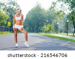 young sport woman standing in... | Shutterstock . vector #216546706
