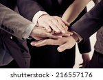 business group with hands... | Shutterstock . vector #216557176