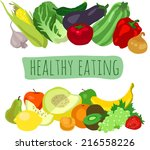 various fruits and vegetables | Shutterstock .eps vector #216558226