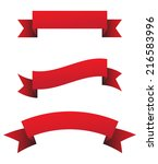 red ribbon set   vector... | Shutterstock .eps vector #216583996