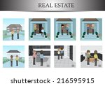 real estate agent with buyers... | Shutterstock .eps vector #216595915
