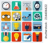 square flat icons with long...