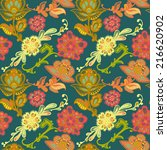 floral boho seamless pattern.... | Shutterstock .eps vector #216620902
