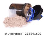 whey protein powder and plastic ... | Shutterstock . vector #216641602