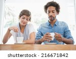 casual couple having coffee... | Shutterstock . vector #216671842