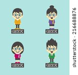 geek cartoon set | Shutterstock .eps vector #216688876