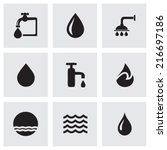 Vector Black Water Icons Set O...