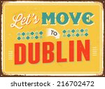 vintage metal sign   let's move ... | Shutterstock . vector #216702472