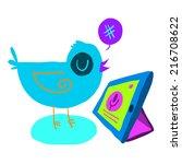 cartoon bird tweet with tablet...