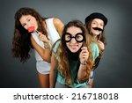 funny girls   Shutterstock . vector #216718018