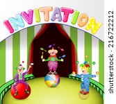 funny clowns at the circus... | Shutterstock .eps vector #216722212