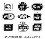set of wifi stickers | Shutterstock .eps vector #216722446