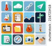 square flat icons with long... | Shutterstock .eps vector #216723418