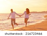 happy young romantic couple in... | Shutterstock . vector #216723466