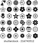 flower icon collection   vector ... | Shutterstock .eps vector #216743512