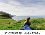 man laying on the ground in a... | Shutterstock . vector #216759652
