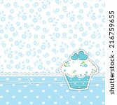 Stock vector blue romantic background with cupcake 216759655