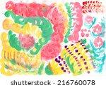 child fingerpainting of... | Shutterstock . vector #216760078