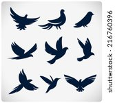 set of flying birds sign. dark... | Shutterstock .eps vector #216760396