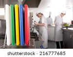 close up of cutting boards in... | Shutterstock . vector #216777685