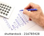 hand draws a graph of blue  the ... | Shutterstock . vector #216785428