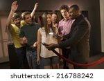 friends entering a club. | Shutterstock . vector #216788242