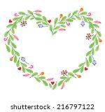 vector heart frame floral... | Shutterstock .eps vector #216797122