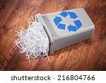 flipped recycle bin full of... | Shutterstock . vector #216804766