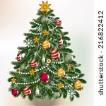 cute vector card with christmas ... | Shutterstock .eps vector #216822412